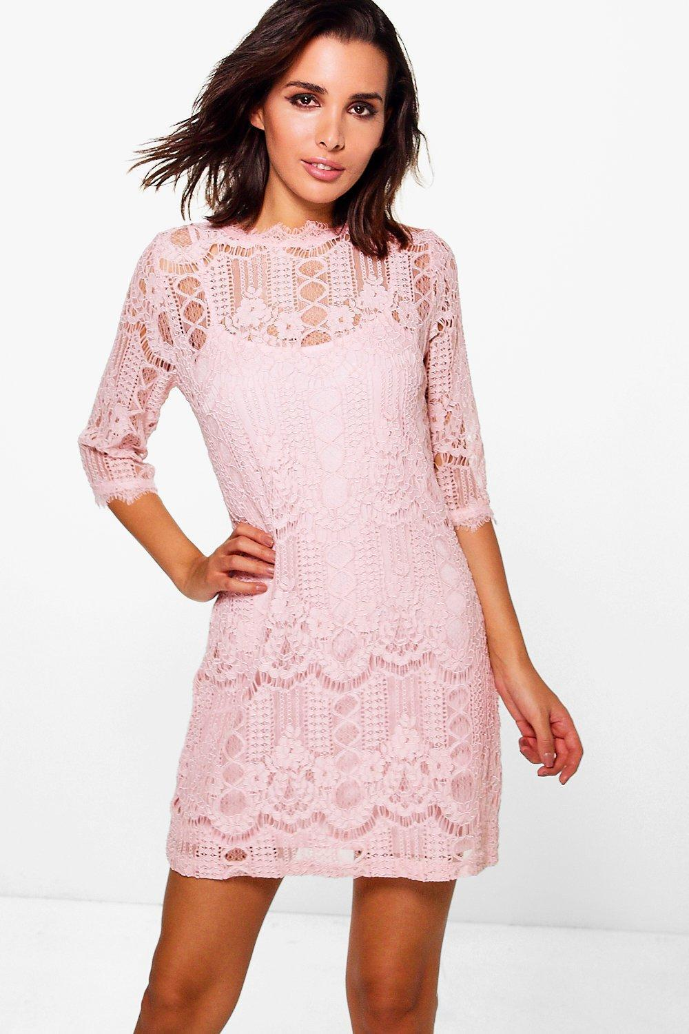 Lyst - Boohoo Ziggy Eyelash Lace Short Sleeve Shift Dress in Pink 191d0e1f2