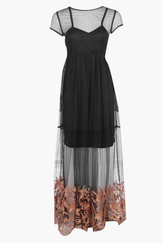 c44bc51d3ddf6 Boohoo Becky Embroidered Hem Mesh Maxi Dress in Black - Lyst