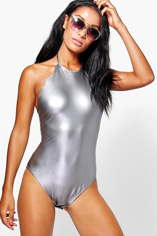 Boohoo Cara Metallic Scallop Edge Halterneck Bodysuit In