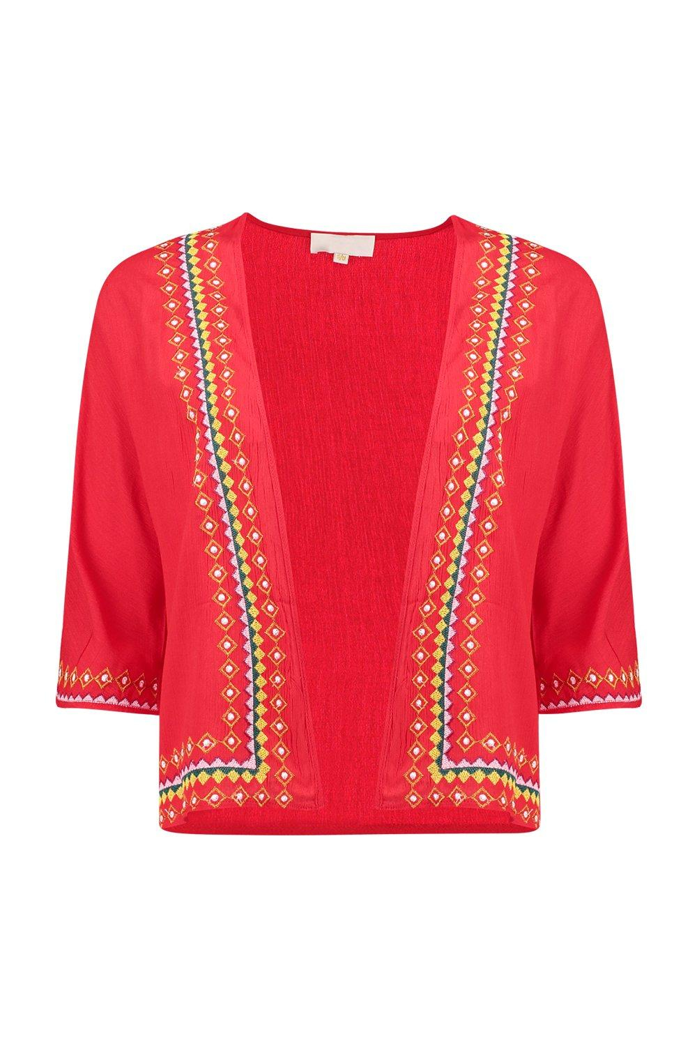 Boohoo maya embroidered trophy jacket in red lyst