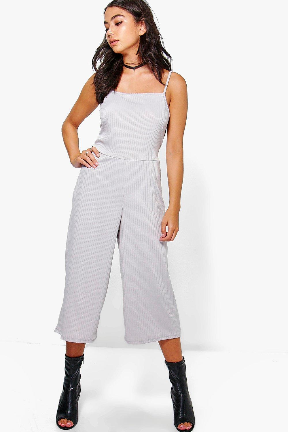 49a70dd73b1 Boohoo Sarah Strappy Ribbed Culotte Jumpsuit in Metallic - Lyst