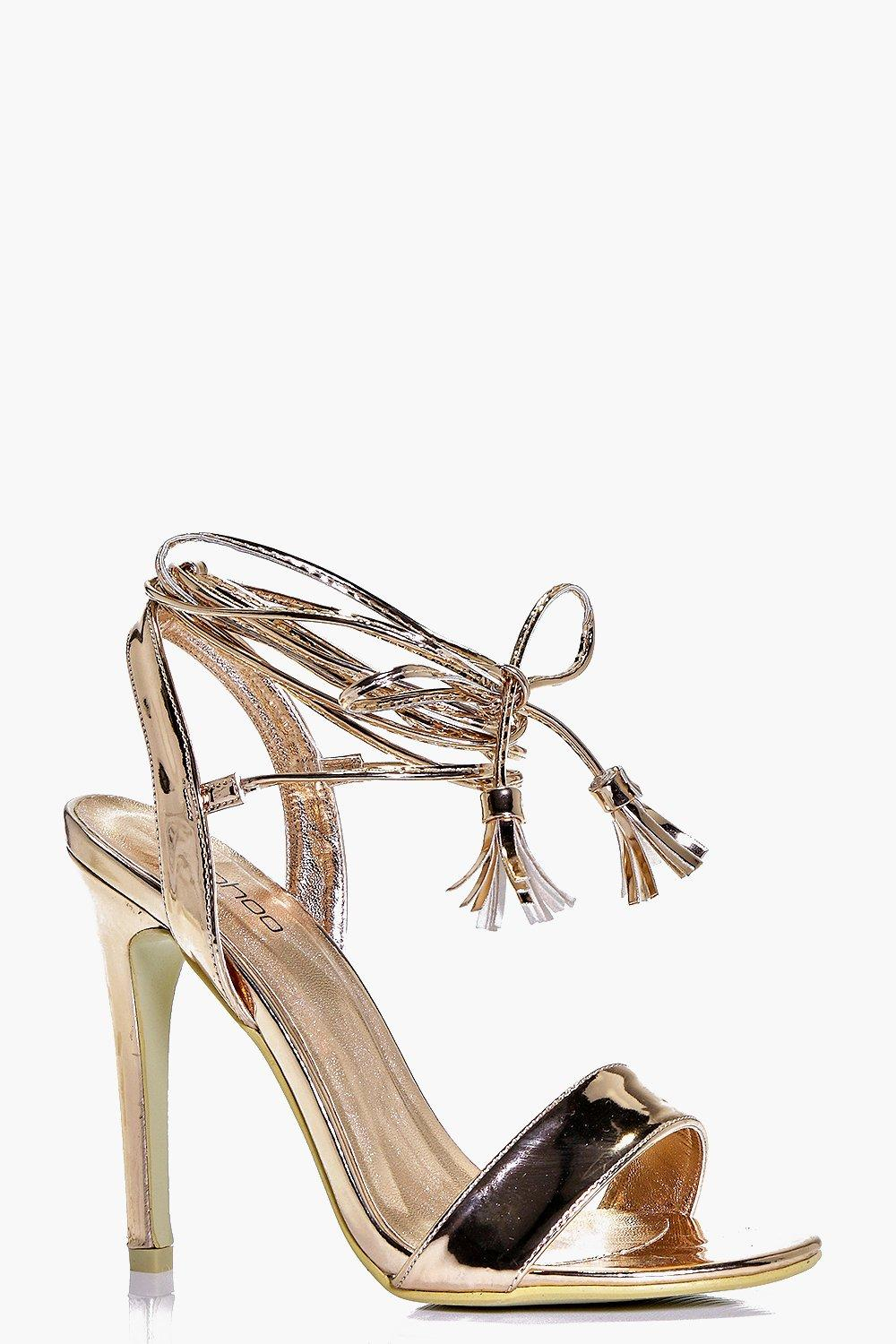 5ca687631bd Boohoo Eliza Wrap Strap Two Part Sandal - Lyst