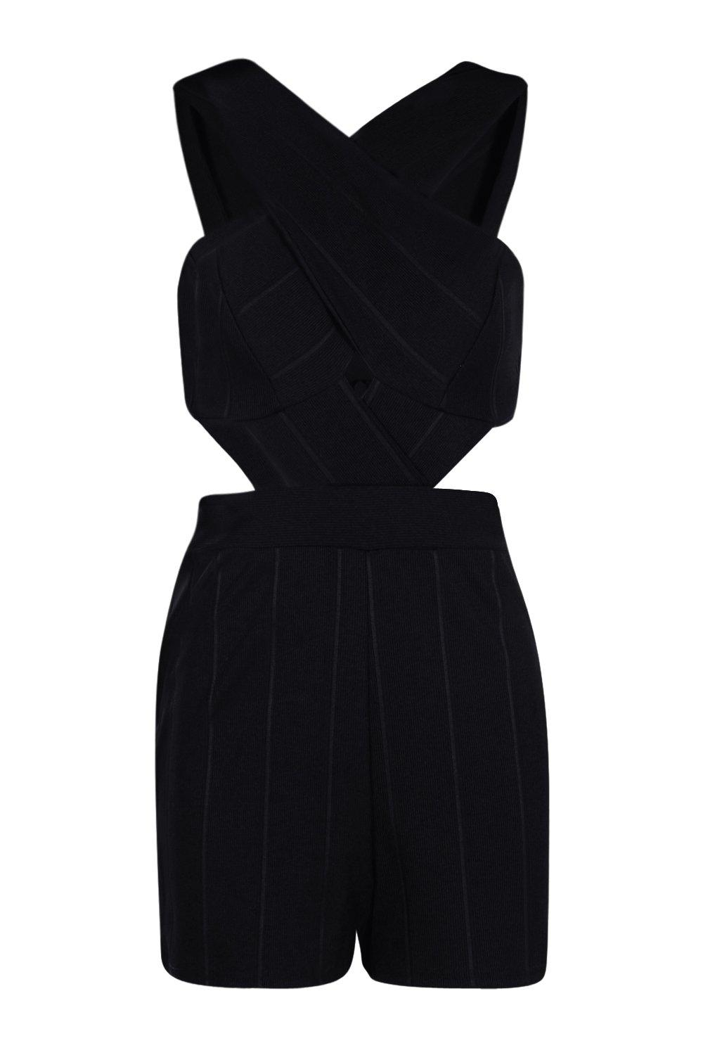 8a28669c01 Boohoo Jenny Cross Front Cut Out Side Bandage Playsuit in Black - Lyst