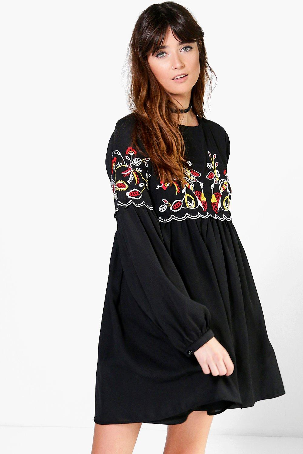 Boohoo Ana Embroidered Smock Dress In Black Lyst