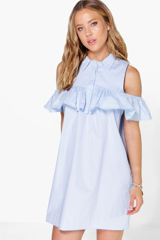 lyst boohoo naomi cold shoulder ruffle shirt dress in blue. Black Bedroom Furniture Sets. Home Design Ideas