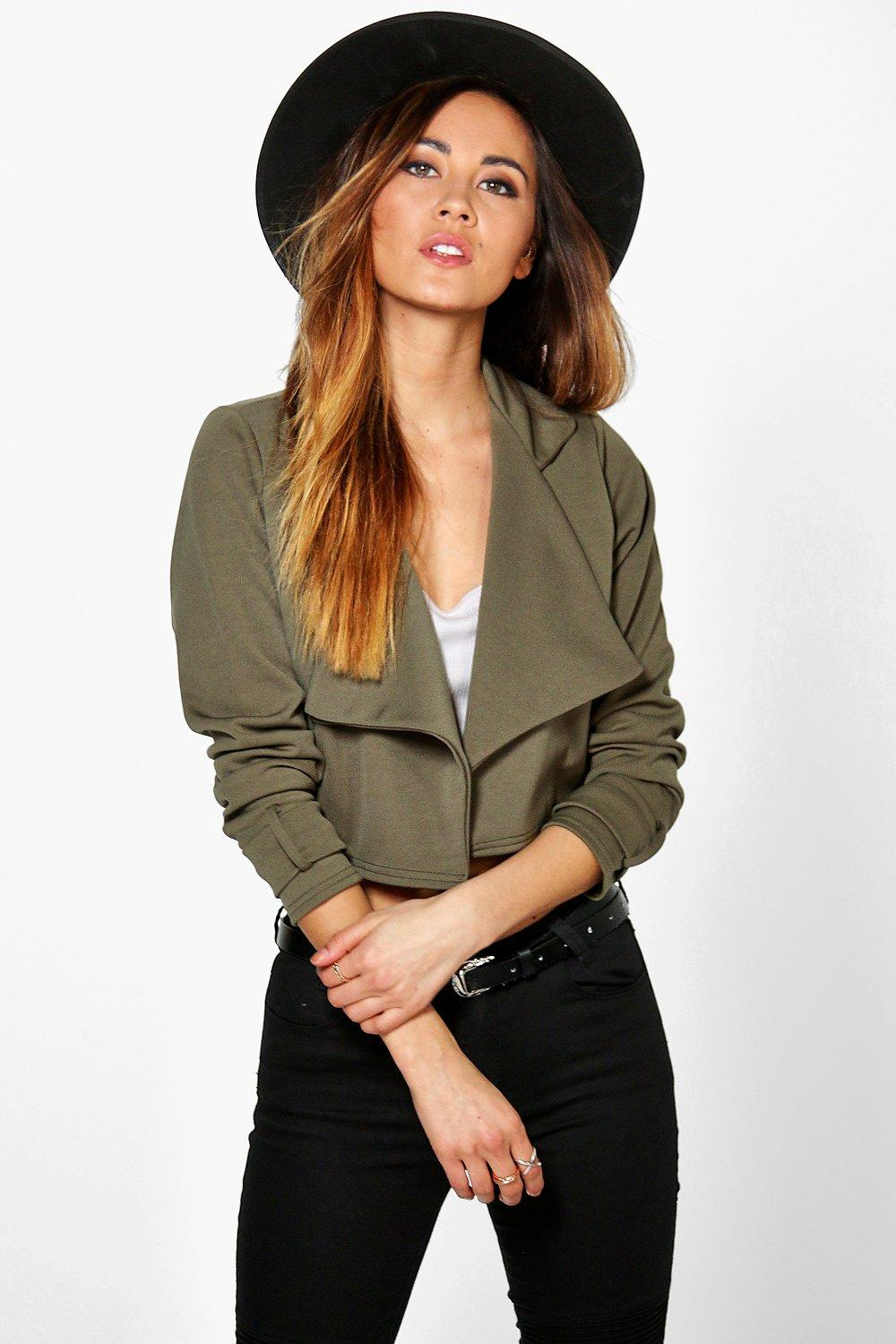 Boohoo Molly Crop Scuba Trench In Natural Lyst