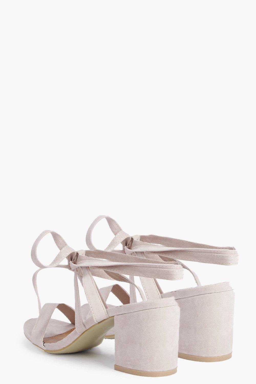 a391bbd59e1 Lyst - Boohoo Eva Low Block Heel Wrap Strap Heel in Gray