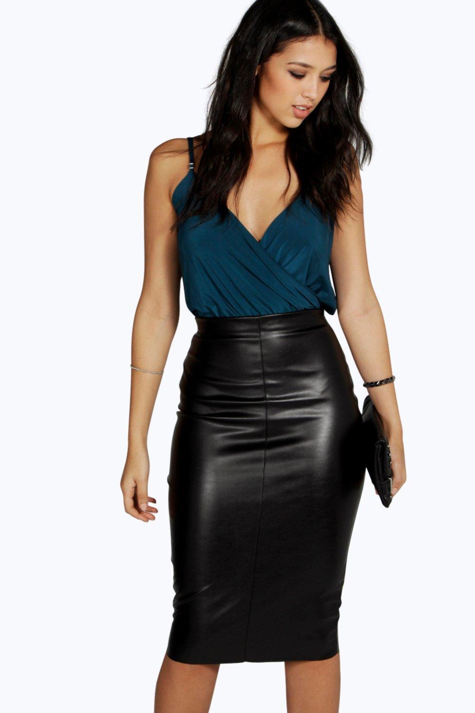 boohoo loren leather look midi skirt in black lyst