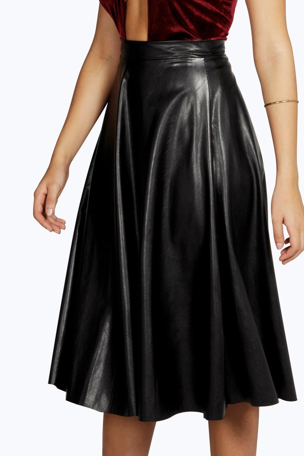 boohoo boutique leather look circle longline skirt in
