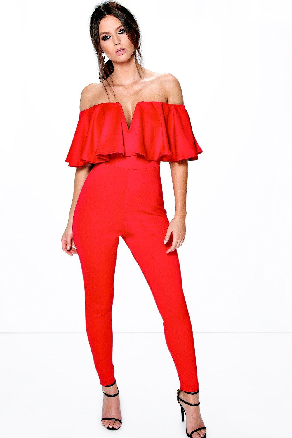 a59daebe384 Lyst - Boohoo Penny Plunge Frill Jumpsuit in Red