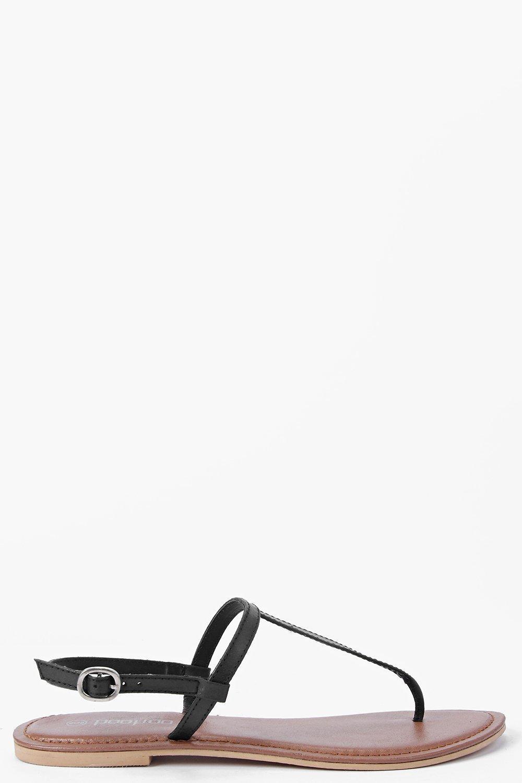 71632c270fd4d6 Boohoo - Black Boutique Lara Plain Toe Thong Leather Sandal - Lyst. View  fullscreen