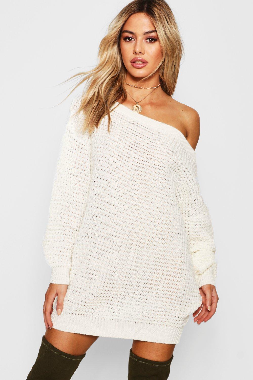 719d1040c3 Boohoo. Women s Natural Petite Waffle Knit Off The Shoulder Jumper Dress