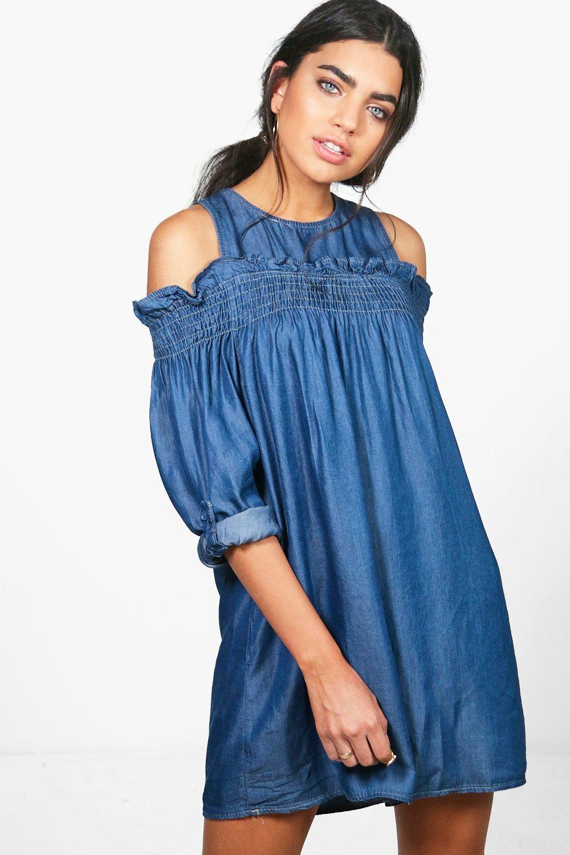 6471f4f9a2 Lyst - Boohoo Zena Ruffle Off The Shoulder Denim Dress in Blue