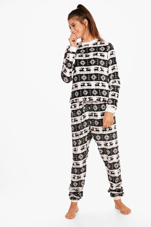 Lyst - Boohoo Lucy Reindeer   Snowflake Twosie in Black fb24bf08f