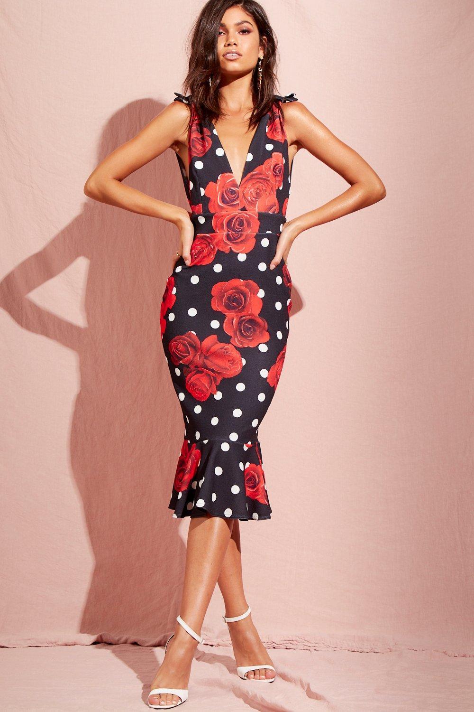 16107e8e3873 Lyst - Boohoo Spot Floral Peplum Hem Midi Dress in Red