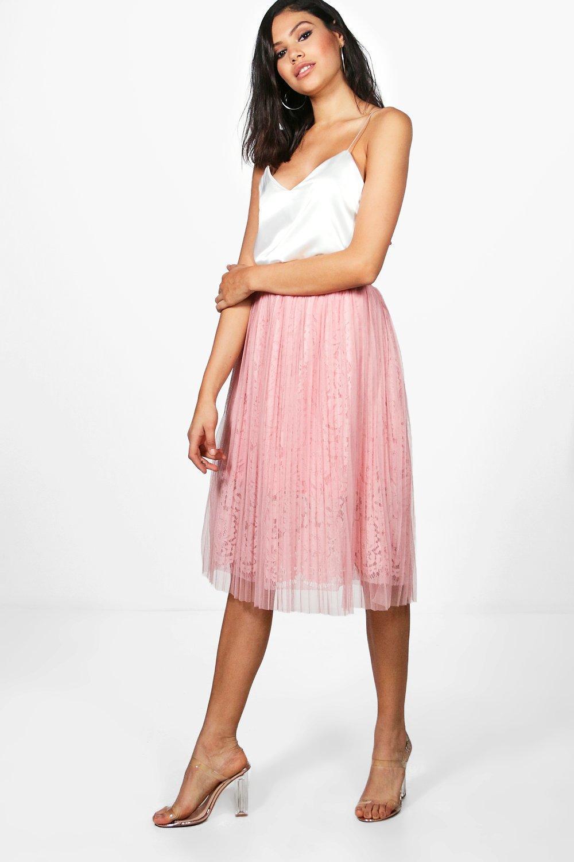 21a18adfa Boohoo Neema Tulle Overlay Lace Full Midi Skirt in Pink - Lyst