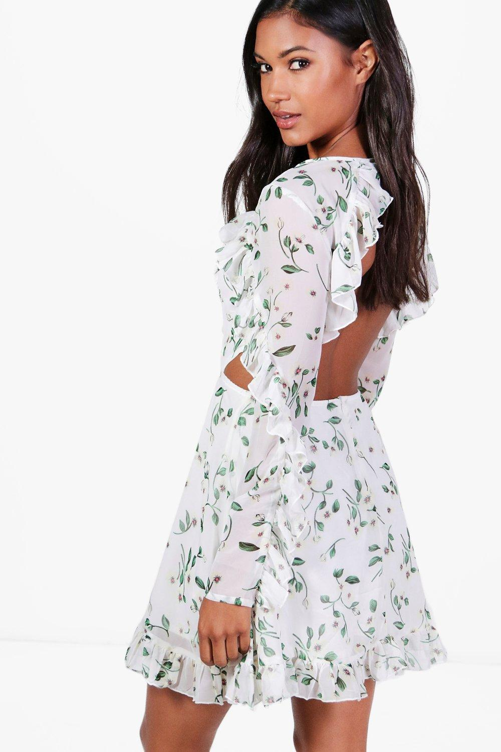 Lyst - Boohoo Sally Chiffon Floral Open Back Skater Dress in White a874efc93