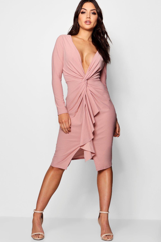 b916d13e143bf Lyst - Boohoo Wrap Ruffle Detail Midi Dress in Pink