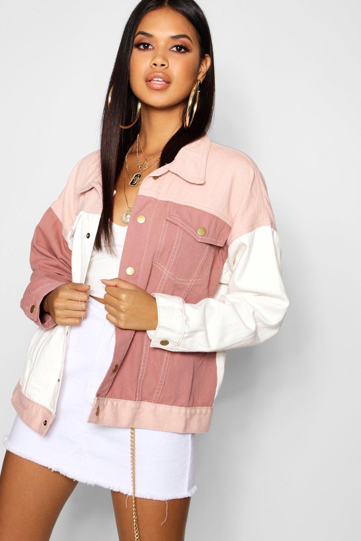 86432895516 Lyst - Boohoo Pink Cololur Block Denim Jacket in Pink