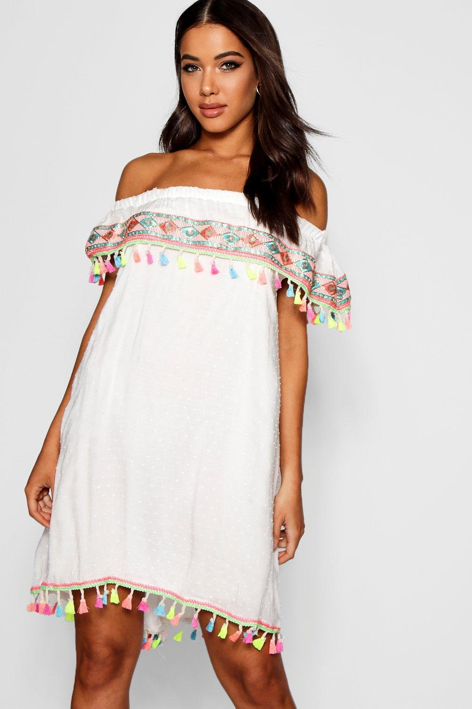 f0651d9c78e77 Lyst - Boohoo Pom Pom Trim Embroidered Smock Dress in White