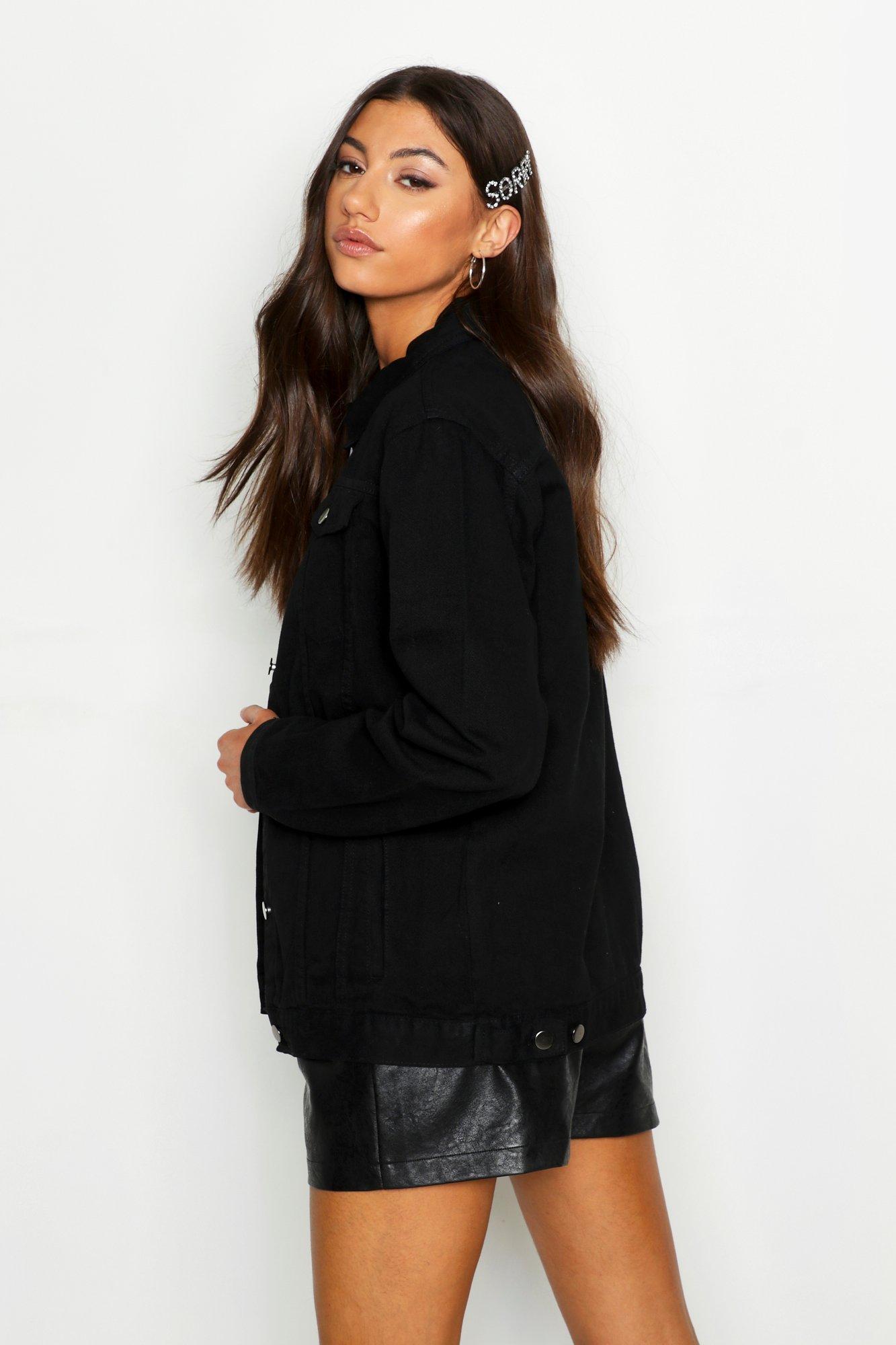 50a6fa9b171 Boohoo - Black Tall Oversized Denim Jacket - Lyst. View fullscreen