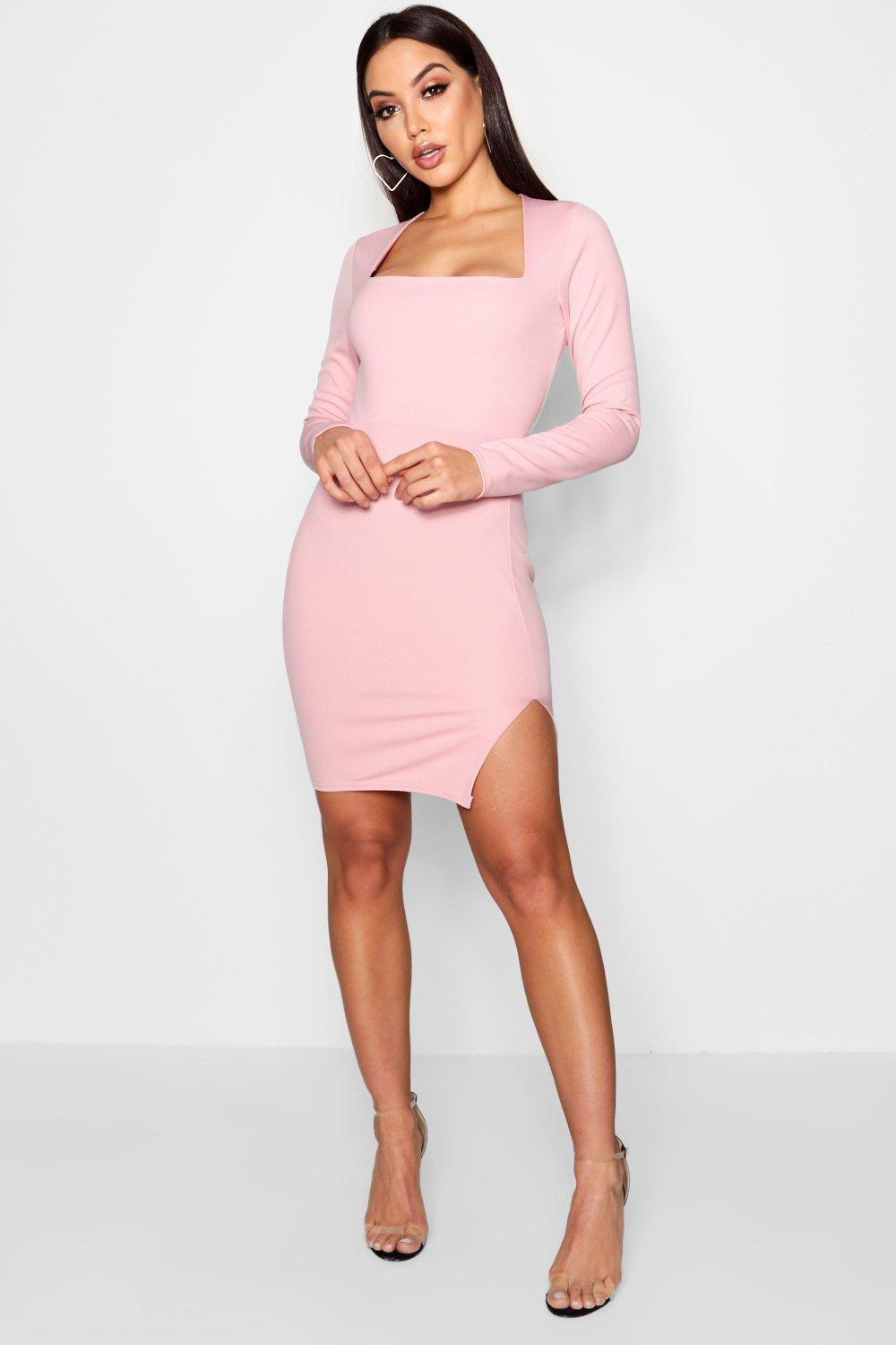 32a79d1fcc8b Boohoo Square Neck Long Sleeve Bodycon Dress in Pink - Lyst