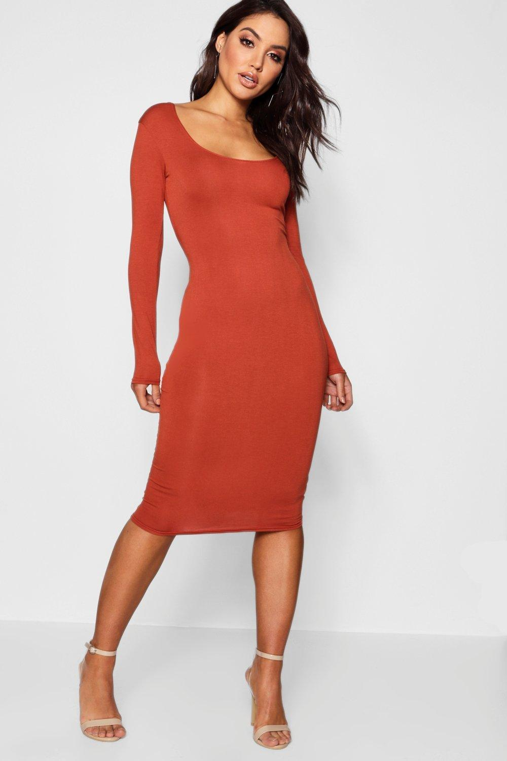 113f322dd572 ... Square Neck Long Sleeved Bodycon Dress - Lyst · Visit Boohoo. Tap to  visit site