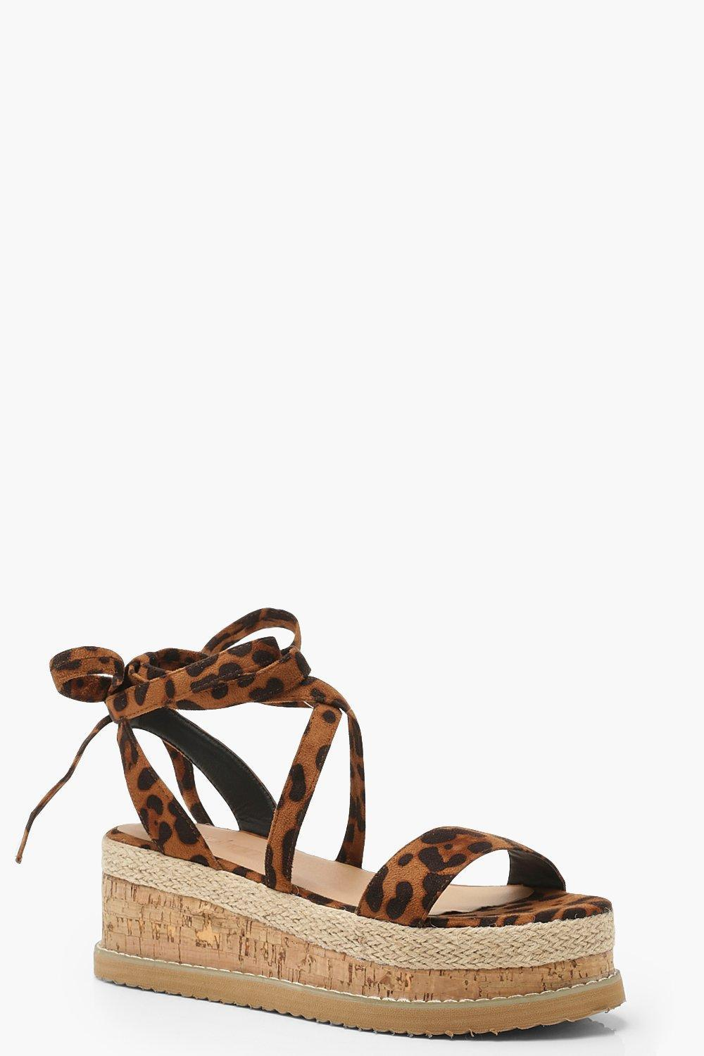 e7652e422330 Lyst - Boohoo Leopard Wrap Strap Flatform Sandals in Brown