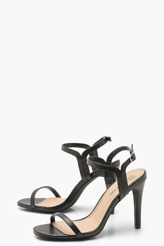 df2d5e08d589 Boohoo - Black Extra Wide Fit Croc 2 Part Heels - Lyst. View fullscreen