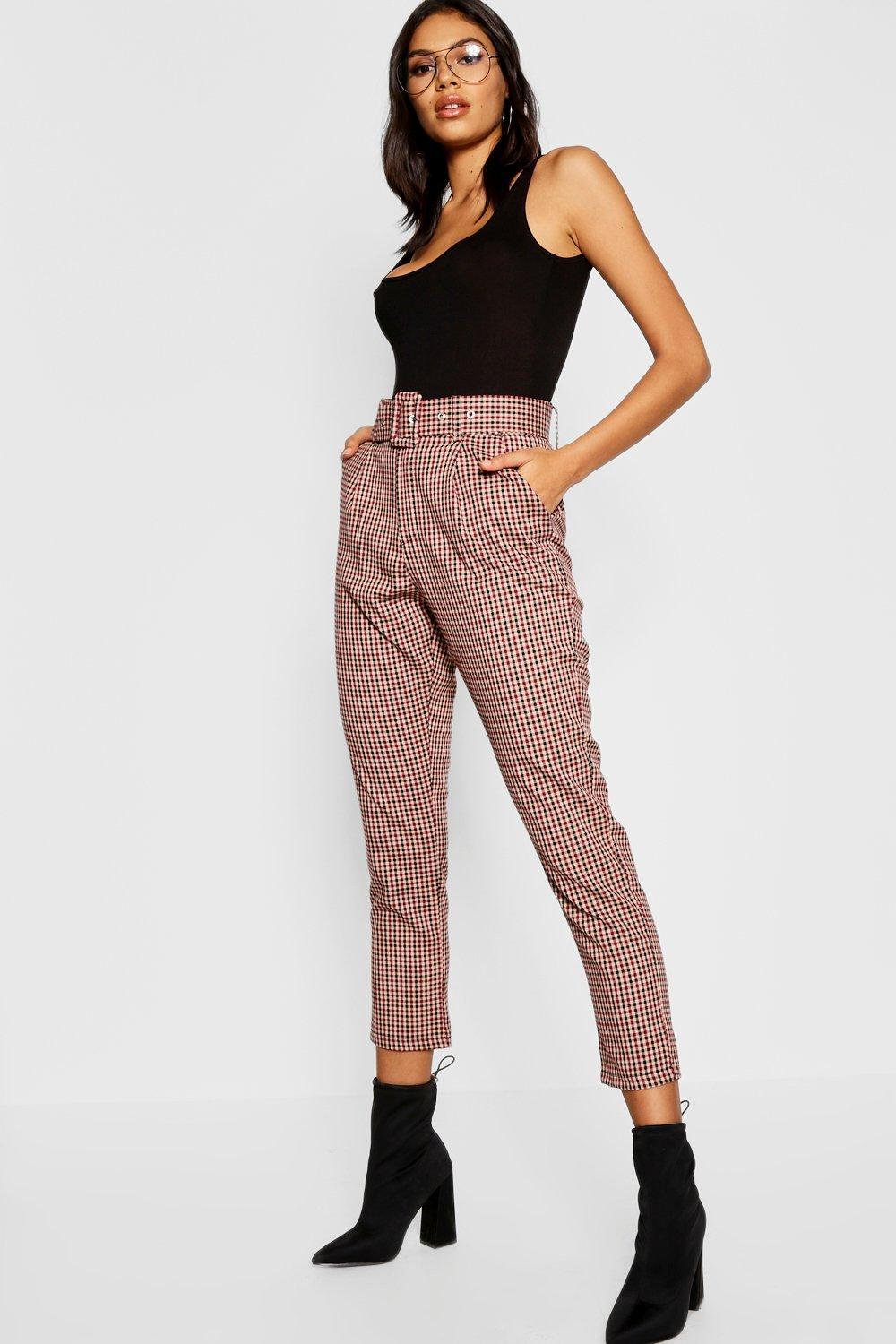 e70248f681996 Boohoo. Women's Check Belted Tapered Trouser