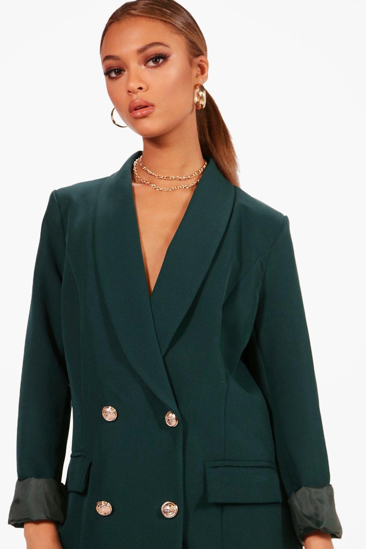 40b1625f18ec Lyst - Boohoo Abigail Premium Gold Button Longline Blazer in Green