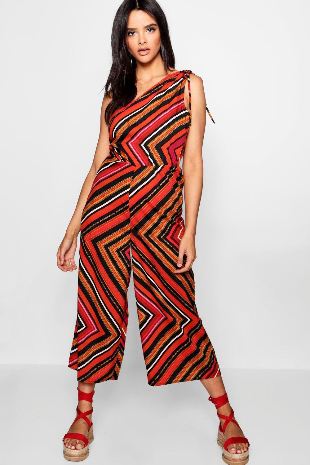 3b0514f2dce4 Boohoo Charlotte Column Culotte Striped Jumpsuit in Red - Lyst
