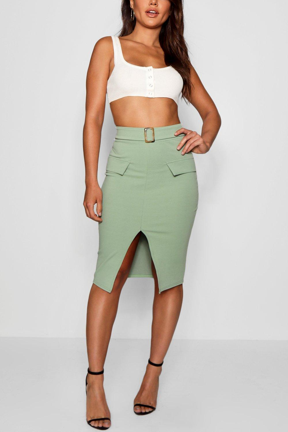 10febe2d4 Boohoo Pocket Front Mock Horn Belt Split Midi Skirt in Green - Lyst