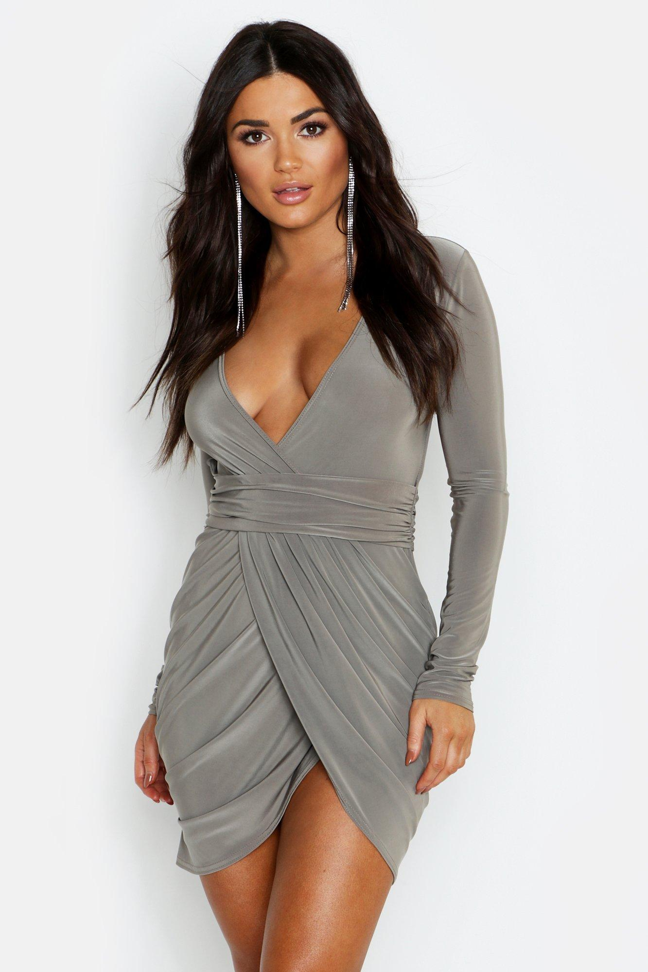 f19666c7bc26 Lyst - Boohoo Slinky Open Back Wrap Front Bodycon Dress in Gray