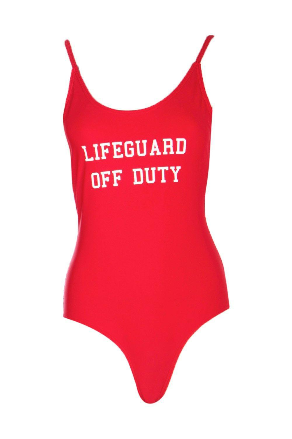 74386d3f2a Lyst - Boohoo Lifeguard Off Duty Slogan Scoop Swimsuit in Red