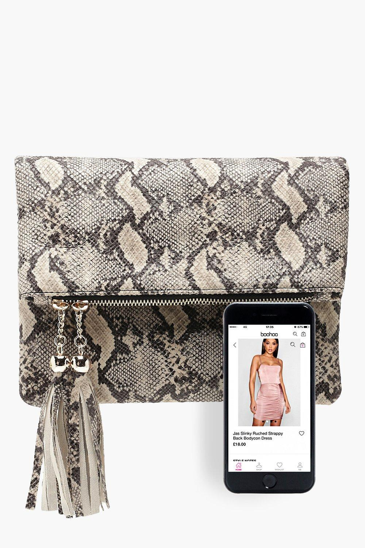 Boohoo - Multicolor Faux Snake Double Tassel Foldover Clutch Bag - Lyst.  View fullscreen 9b5fceb79b653