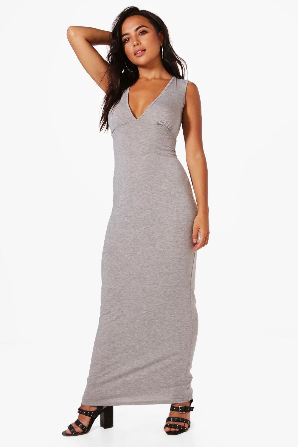 607e9671c17 Boohoo Petite Holly Plunge Jersey Maxi Dress in Gray - Lyst