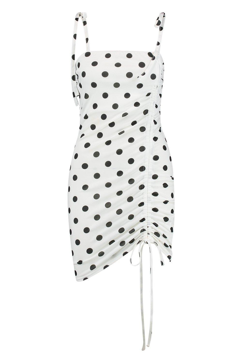 Dot in Boohoo Bodycon Dress Tie Polka White Ruched Strap Lyst 4qc5RS3LAj