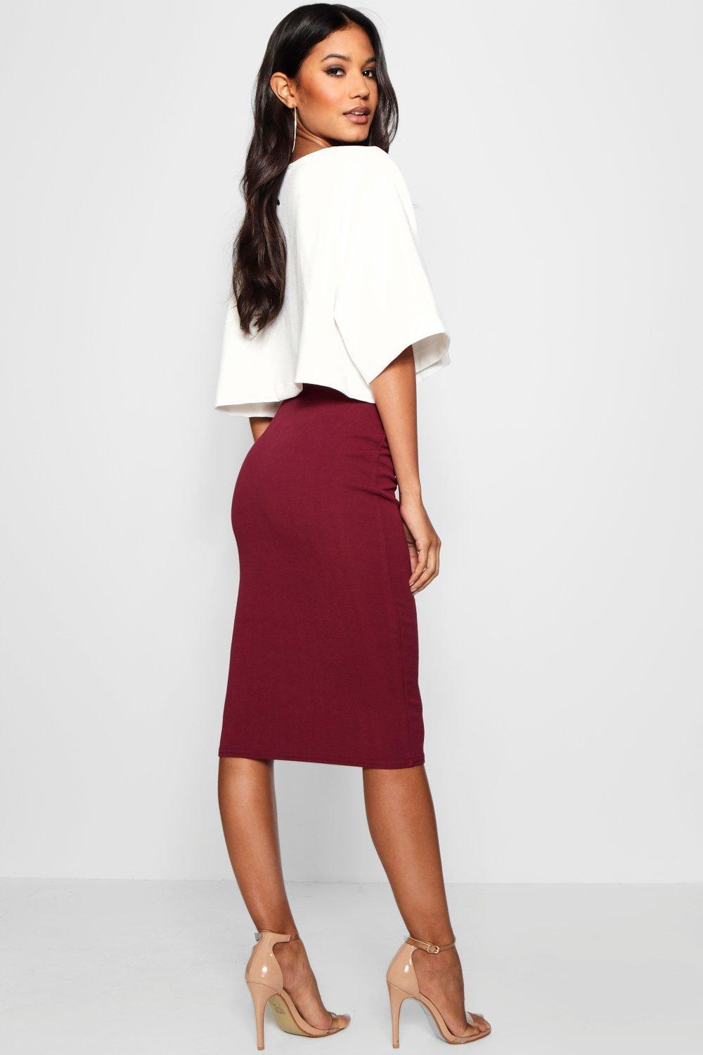 9209fc4d182 Boohoo - Red Boxy Crop And Midi Skirt Co-ord - Lyst. View fullscreen