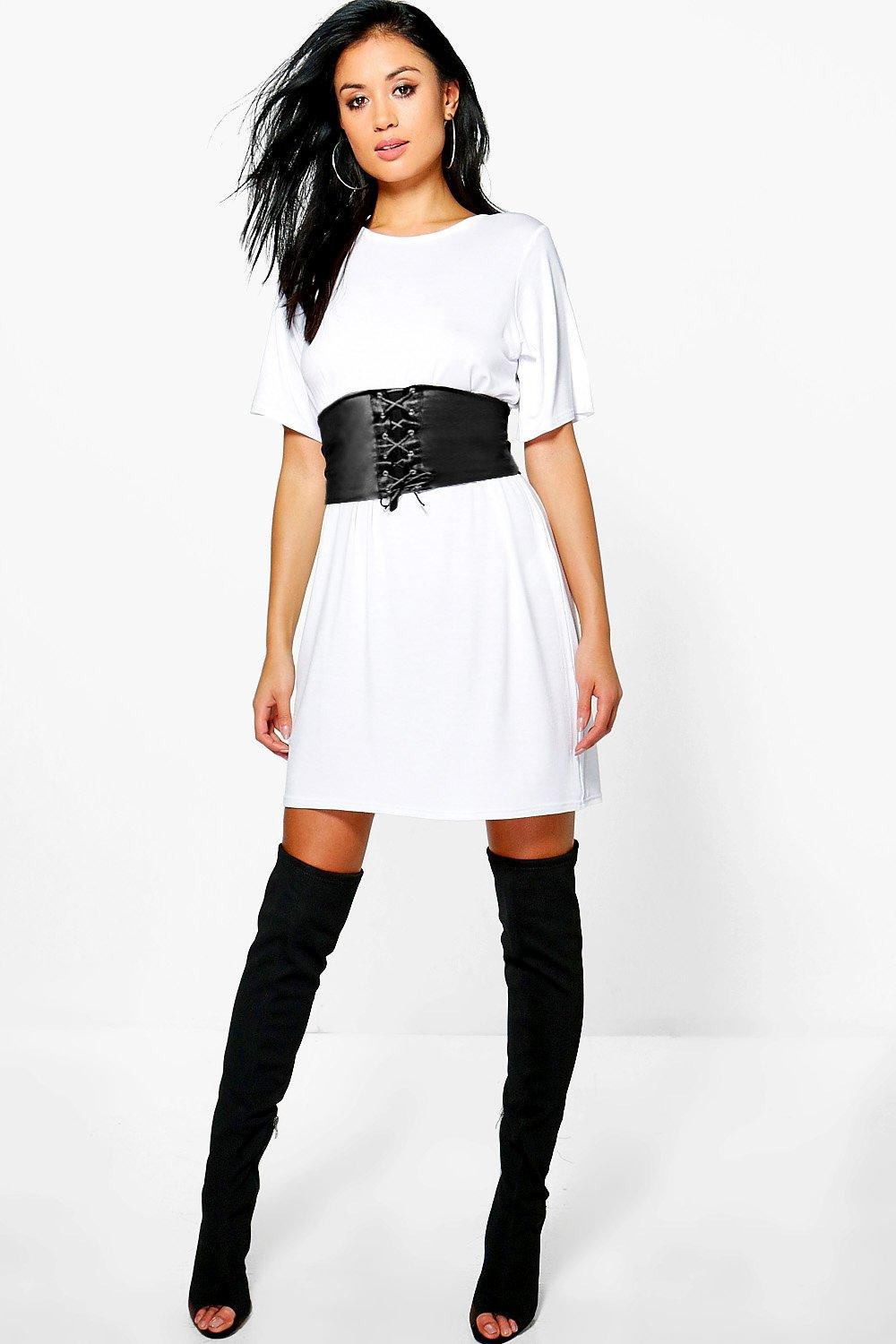 3db93cad20 Lyst - Boohoo 2 In 1 Corset Belt T-shirt Dress in White