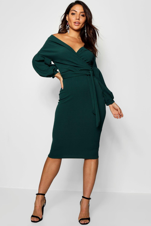 0b33041d41b5 Off The Shoulder Wrap Midi Dress Boohoo - Dress Foto and Picture