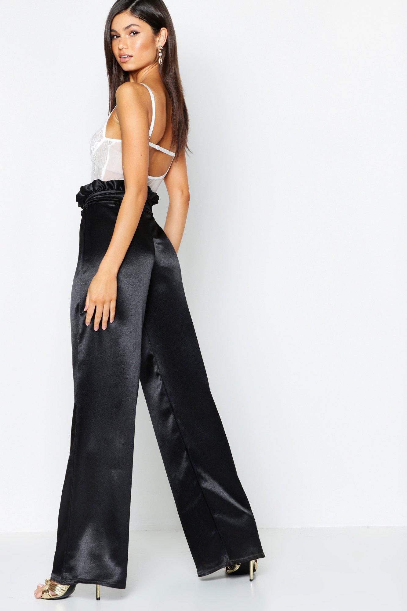 0e7a0b21c5cc Boohoo - Black Textured Satin Paperbag Wide Leg Pants - Lyst. View  fullscreen