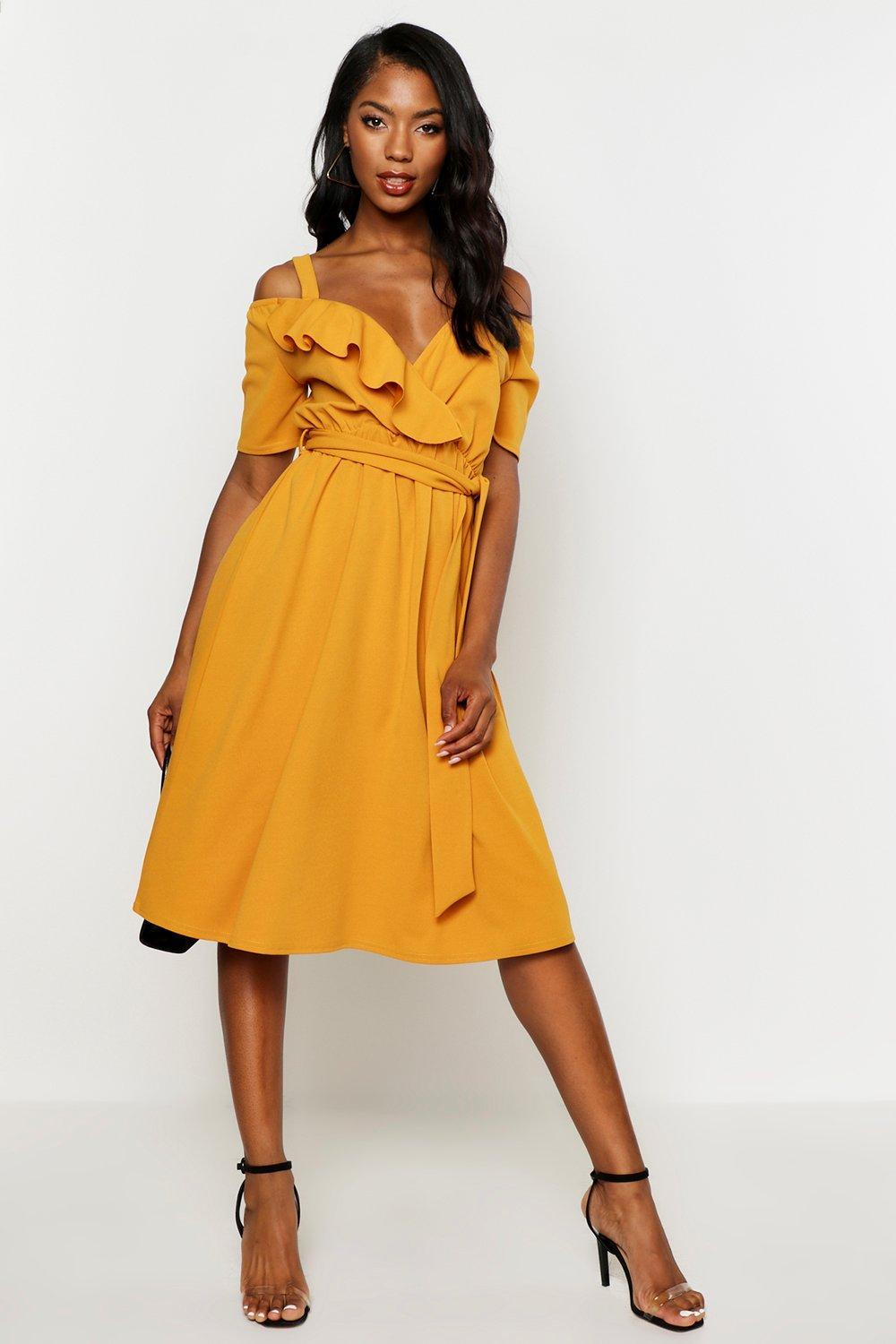 269125cdc50 Boohoo Cold Shoulder Ruffle Belted Midi Dress in Yellow - Lyst