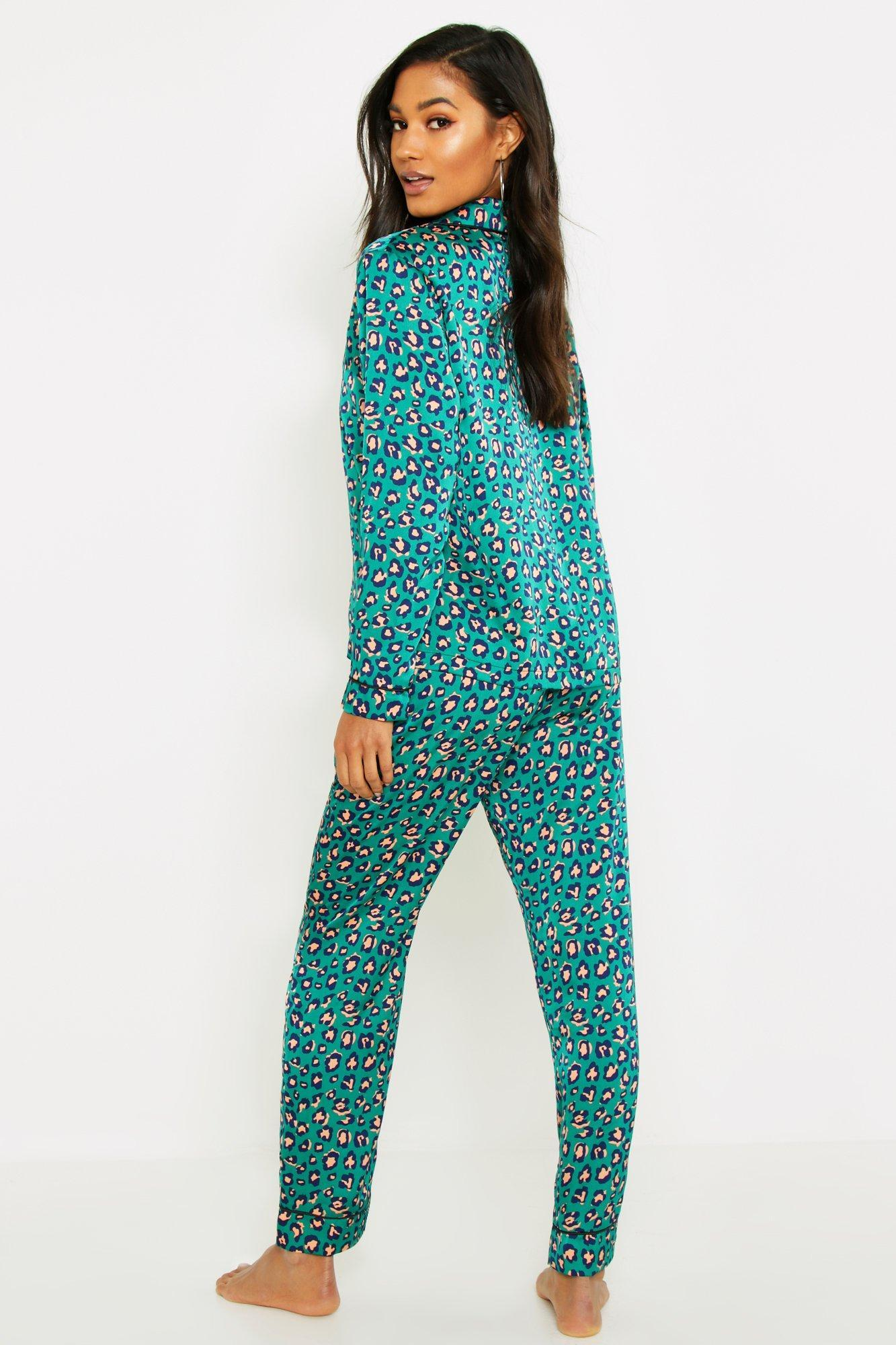 9310fa5014 Boohoo - Green Satin Button Through Pj Trouser Set - Lyst. View fullscreen