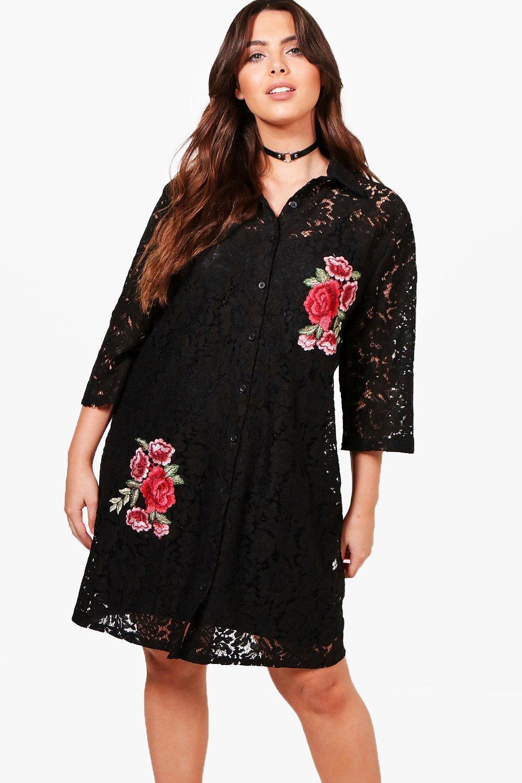 dd5ef90bd692 Boohoo Plus Rosie Lace Embroidered Shirt Dress in Black - Lyst