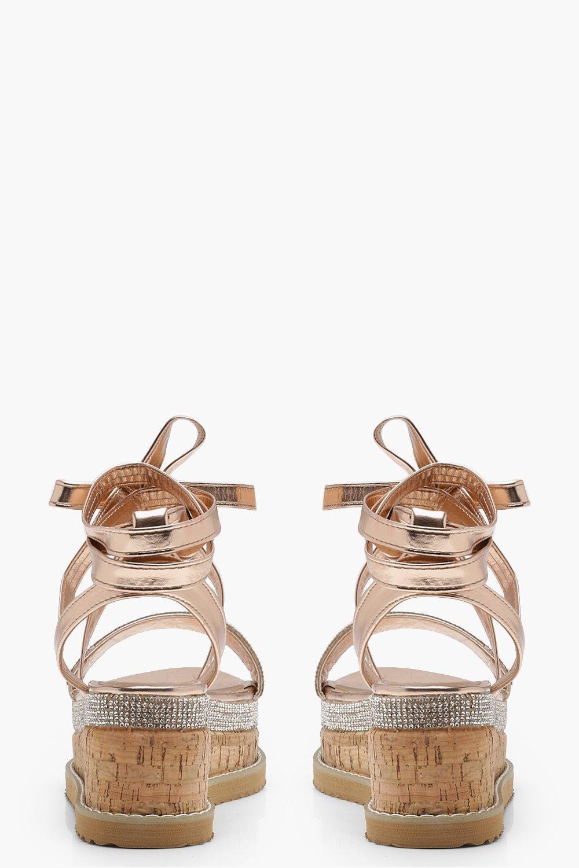 22523a263541 Boohoo Tia Diamante Flatform Espadrille Tie Up Sandals - Lyst