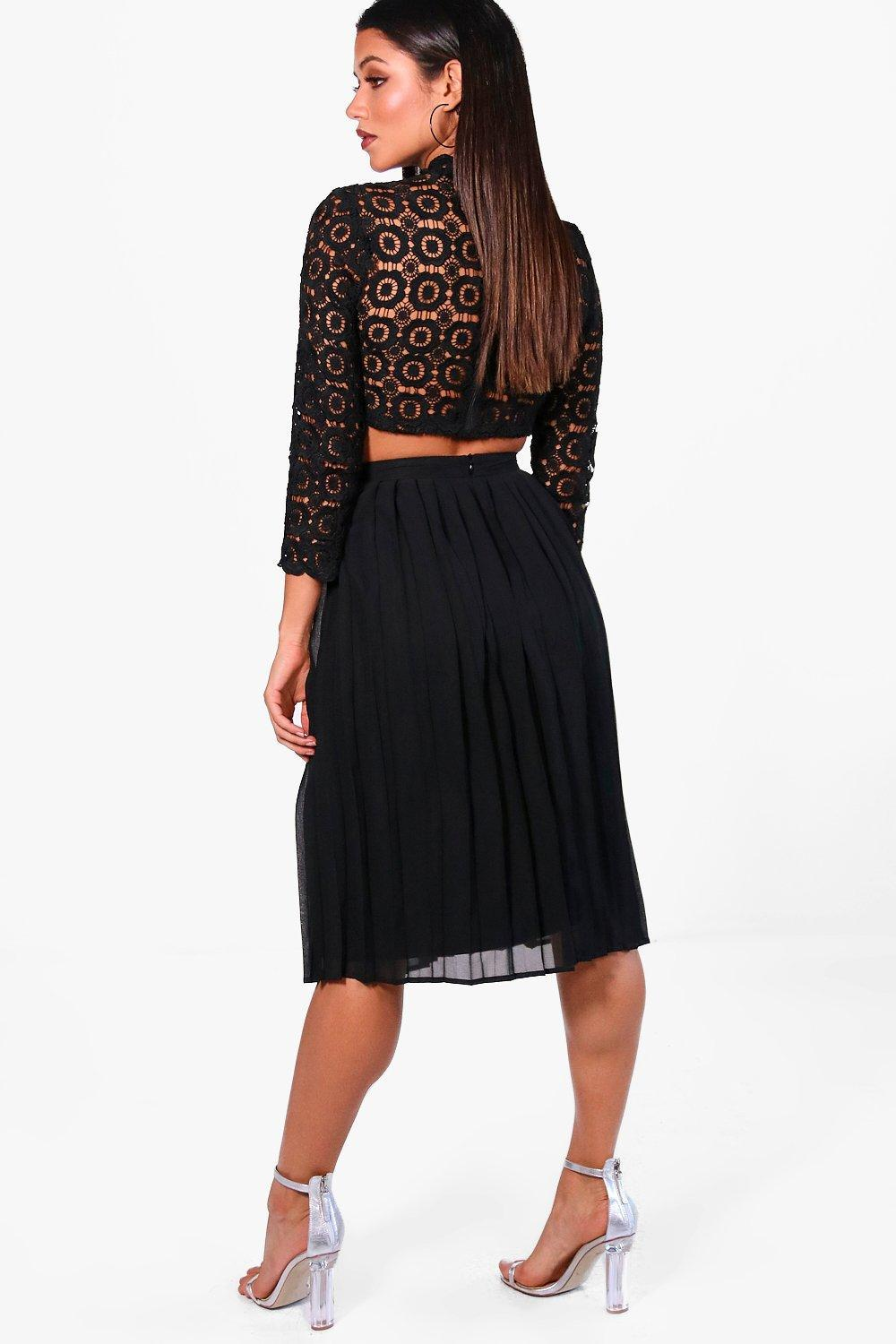 d717248691 Boohoo - Black Boutique Lace Top And Midi Skirt Set - Lyst. View fullscreen