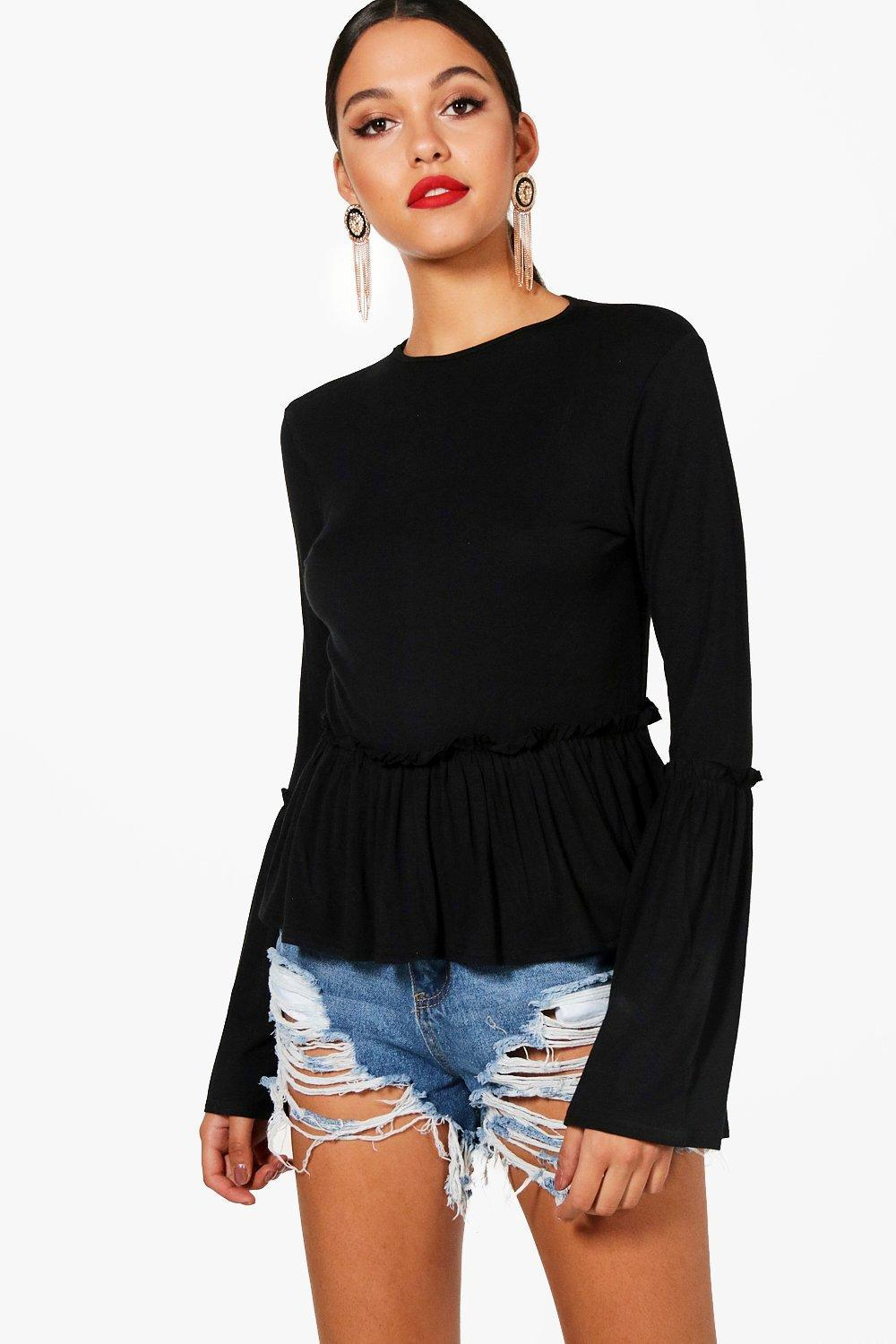 Boohoo Tall Ruffle Hem Top Cheap Sale Low Shipping Fee Free Shipping Supply Discount Low Shipping Fee Edc7lH