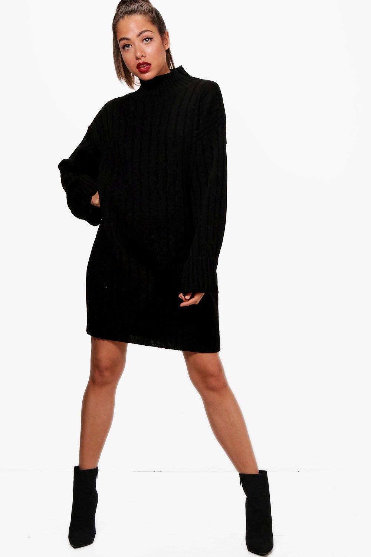 9808fdb60332 Boohoo Maxi Wide Sleeve Wide Rib Jumper Dress in Black - Lyst