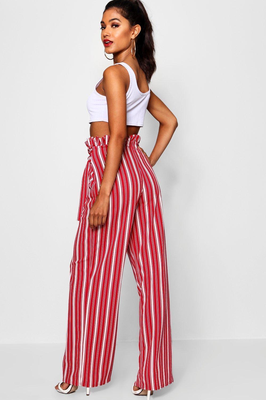ec60151d5367 Boohoo - Black Crepe Stripe Paperbag Wide Leg Trouser - Lyst. View  fullscreen